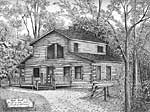 Red Bud Cabin - Ballpoint pen artwork by Vincent Whitehead