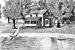 Rower Lake House - Michigan - Ballpoint pen artwork by Vincent Whitehead